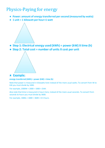 Preview of GCSE Paying for energy Physics