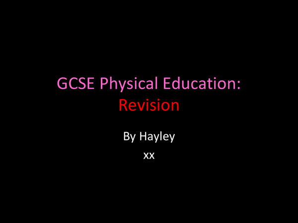 Preview of GCSE physical education part 2