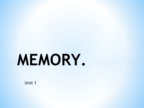 Preview of GCSE Psychology - Memory