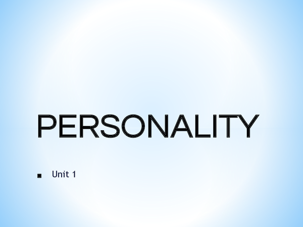 Preview of GCSE Psychology - Personality