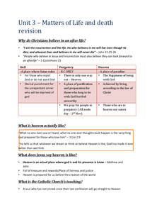 Preview of GCSE RE: Revision notes: Matters of Life and Death UNIT 3 TOPIC 2