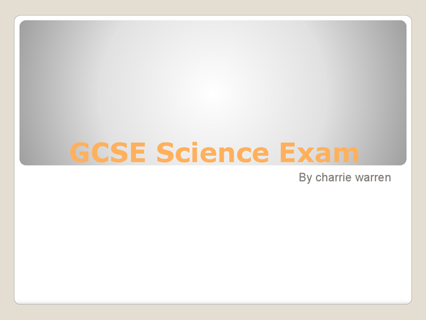 Preview of GCSE Scence