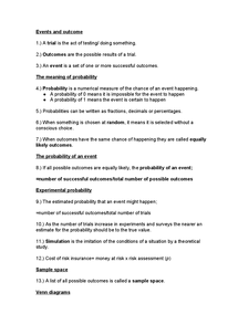 Preview of GCSE Statistics Chapter 7 Summary- Probability