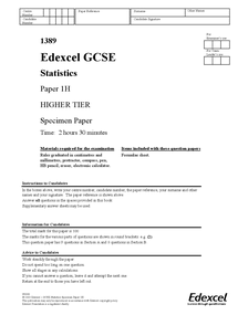 Preview of GCSE STATS Higher Paper1 and answers