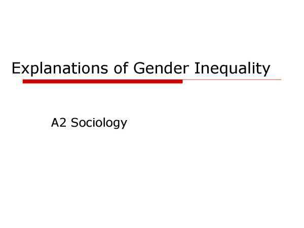 Preview of gender and inequality