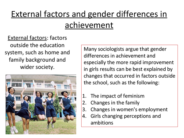 Preview of Gender differences in achievement- External factors