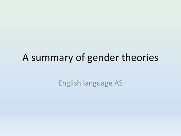 Preview of Gender Theories