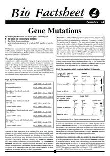 Preview of Gene Mutations Bio Factsheet