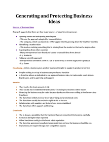 Preview of Generating and Protecting business ideas