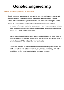 Preview of Genetic Engineering and Embryo Research Revision/Notes 1