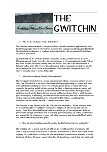Preview of Geog A Level Notes on Gwitchen tribe Alaska/Old Crow Flats