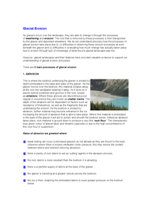 Preview of Geography Full A Level Notes on Glacial Erosion