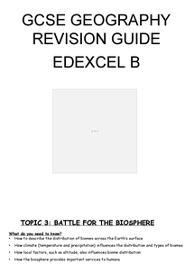 Preview of Geography Linear - Topic 3 ( battle of the biosphere ) revision guide