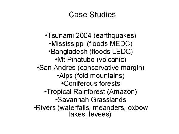 Preview of Geography physicall paper 1 case studies and physical landscapes