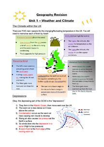 Preview of Geography Revision - Weather and Climate