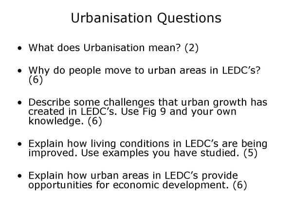 Preview of Geography urbanisation past paper (foundation)
