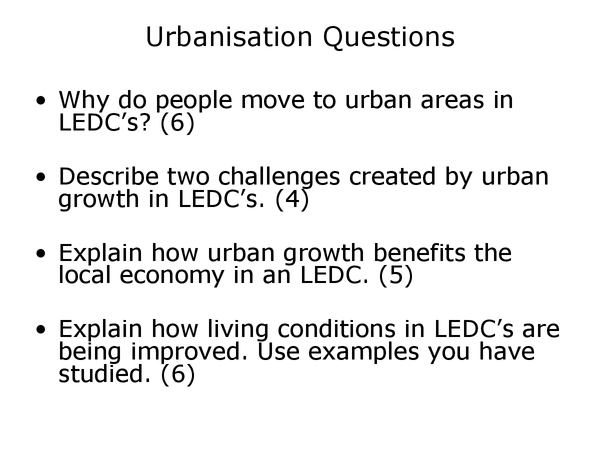 Preview of Geography urbanisation pastpaper questions (higher)