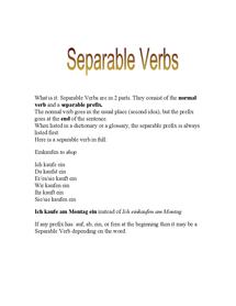 Preview of german seperable verbs