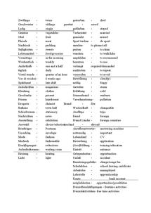 Preview of German vocab list - edexcel