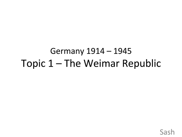 Preview of Germany 1914-45: Weimar Republic