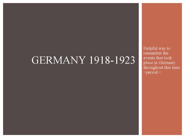 Preview of Germany 1919-1923