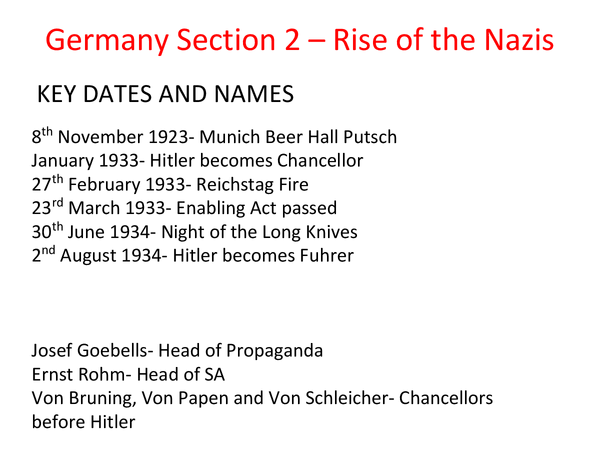 Preview of germany section 2 - rize of the nazis