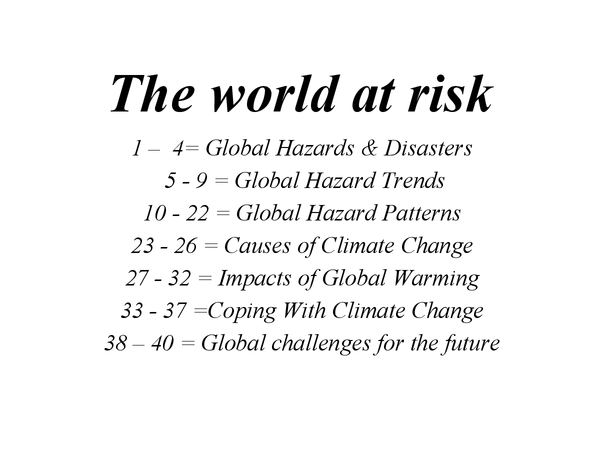 Preview of Global Hazards
