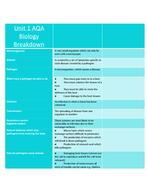 Preview of breakdown of biology aqa as unit 1 (completion in progress)