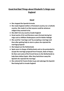Preview of Good and Bad Things about Elizabeth Tudors reign