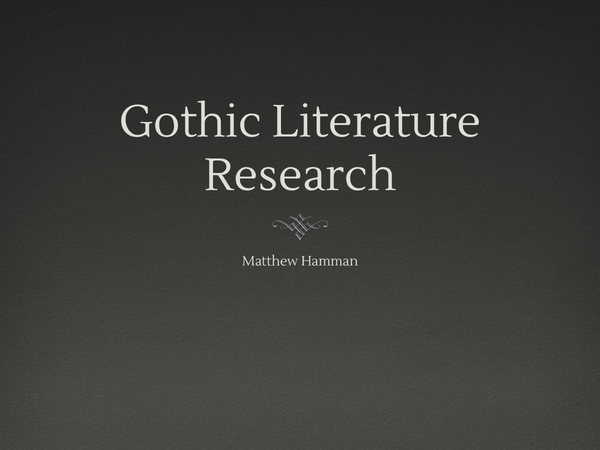 Preview of Gothic Literature Revision