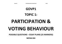 Preview of GOVP1 - Topic 1: Voting Behaviour & Participation - ESSAY PLANS