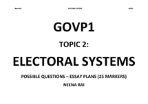 Preview of GOVP1 - Topic 2: Electoral Systems - ESSAY PLANS
