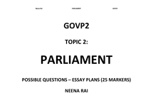 Preview of GOVP2 - Topic 2: Parliament - ESSAY PLANS