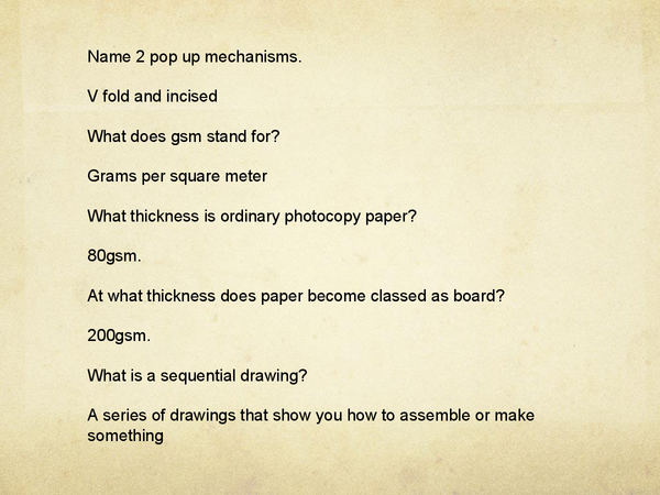Preview of Graphics Revision Y11 Questions and Answers 2