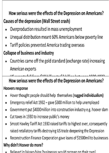 Preview of Great Depression America Revision Cards