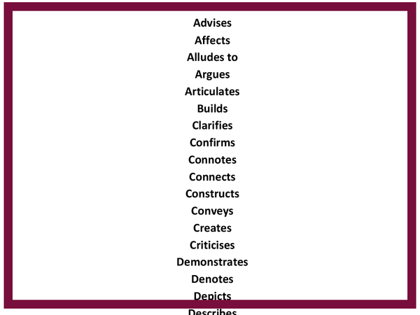 Preview of Great verbs for analysing text !