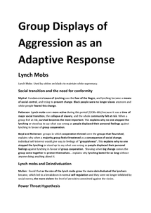 Preview of Group Displays of Aggression as an Adaptive Response