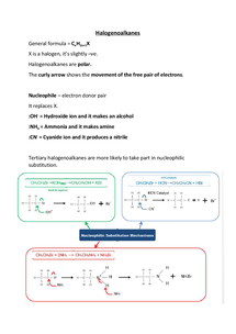 Preview of Halogenoalkanes Revision Notes