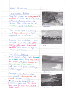 Preview of Handwritten Deserts Water Erosion Notes