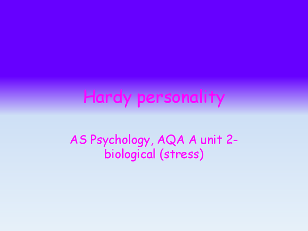 Preview of hardy personality, research and evaluation