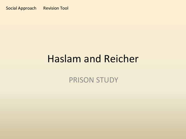 Preview of Haslam and Reicher BBC Prison study