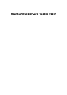 Preview of Health and Social Care Practice Paper