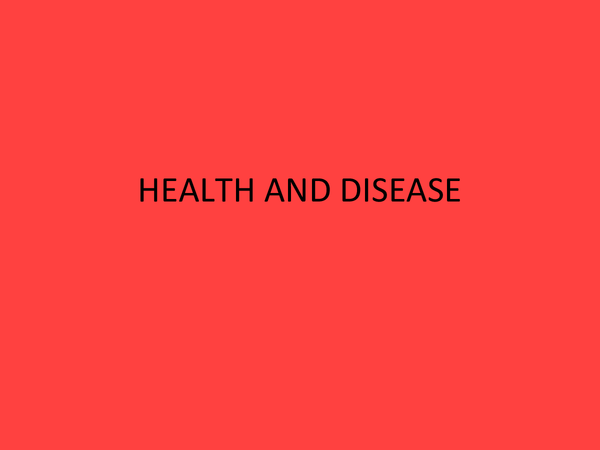Preview of Health and Disease