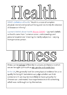 Preview of Health and Illness Booklet