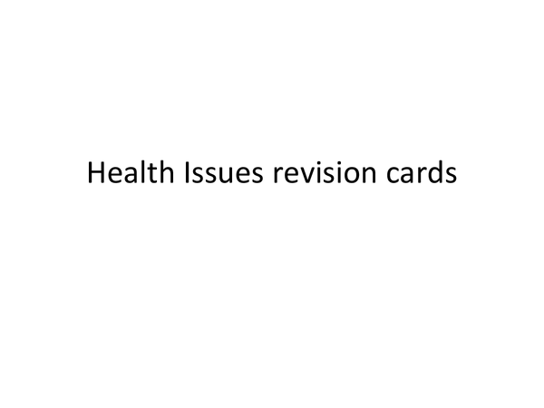Preview of Health issues revision cards