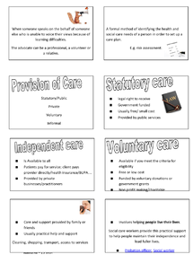 Preview of Health& Social care Quick revision notes