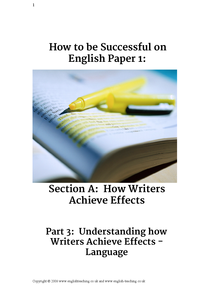 Preview of Help booklet for GCSE English language exam