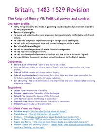 Preview of Henry VII Revision - Rebellions + Foreign Policy