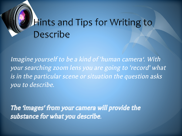 Preview of Hints and Tips for Writing to Describe