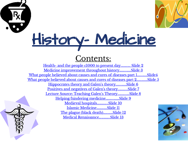 Preview of History: Medicine through time